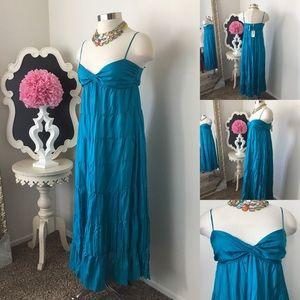 🌺Ann Taylor  Teal Blue Bohemian Style Maxi Dress